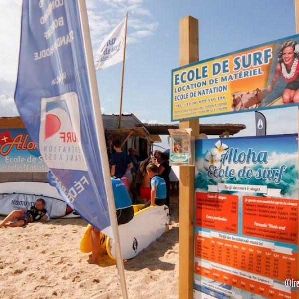 Cabane de l'école de surf Aloha à Seignosse plage des Bourdaines